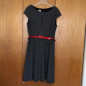Anne Klein Black & White Polka Dot Dress-Size 16